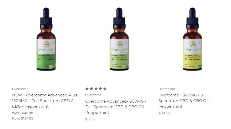 Overcome Advanced - Full Spectrum CBD & CBG Oil | CBD Capsules | Overcome hemp topicals | Hemp Oil for pets